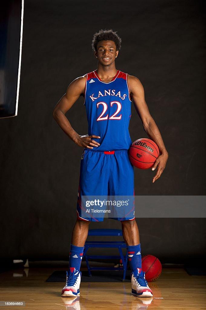 Portrait of Kansas small forward Andrew Wiggins during photo shoot at Allen Fieldhouse. Al Tielemans F6 )