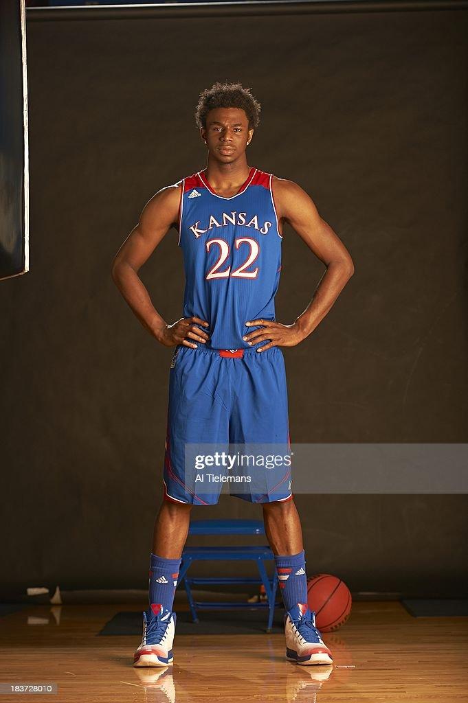Portrait of Kansas small forward Andrew Wiggins during photo shoot at Allen Fieldhouse. Al Tielemans F2 )