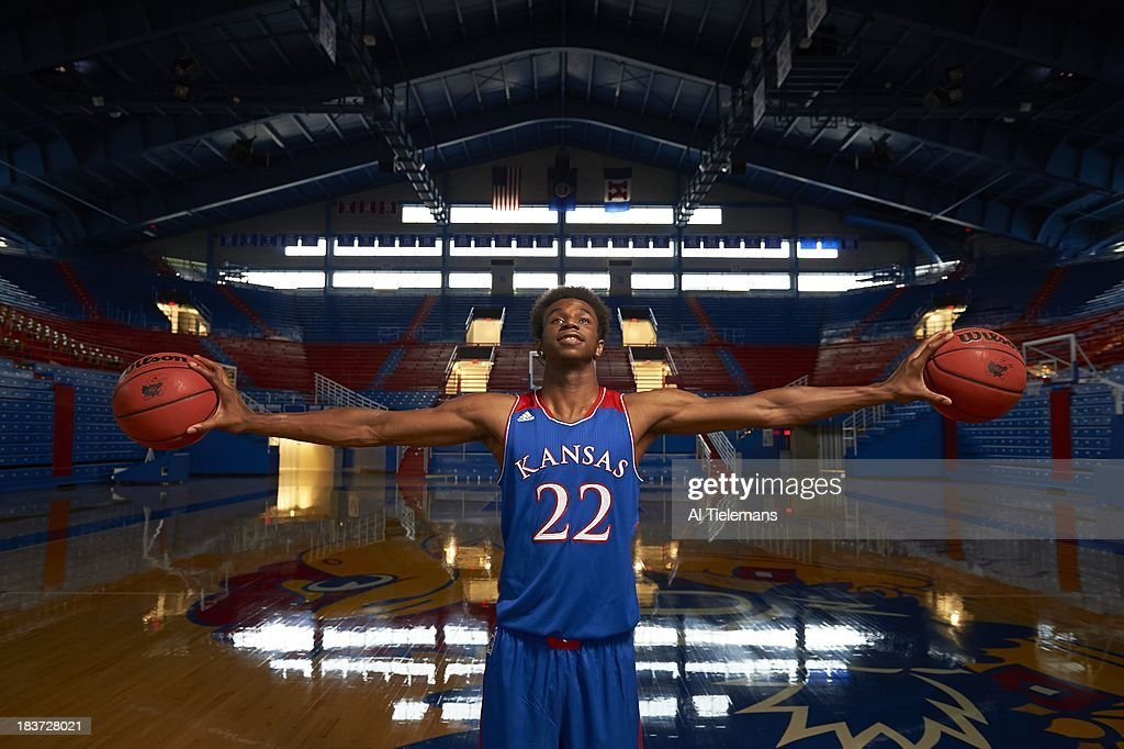 Portrait of Kansas small forward Andrew Wiggins during photo shoot at Allen Fieldhouse. Al Tielemans F55 )
