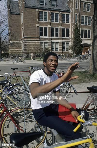 Portrait of Michigan State Earvin Magic Johnson casual in hometown Lansing MI 4/20/1979 CREDIT Lane Stewart