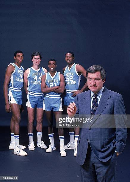 College Basketball Portrait of North Carolina coach Dean Smith with Sam Perkins Matt Doherty Jimmy Black and James Worthy in background Cover Chapel...