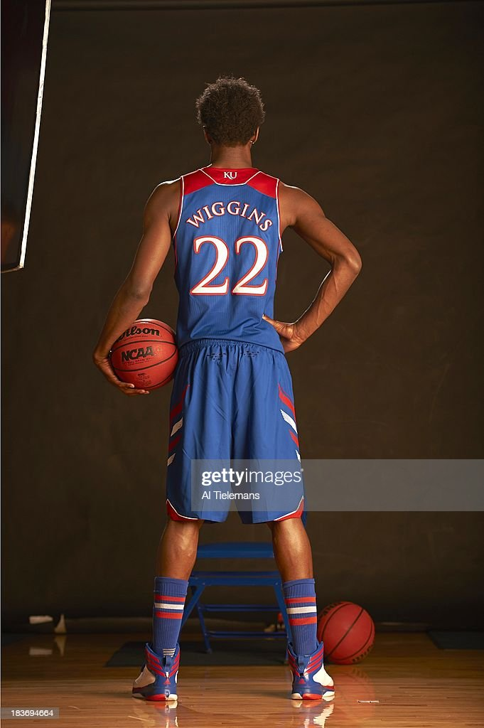 Rear view portrait of Kansas small forward Andrew Wiggins during photo shoot at Allen Fieldhouse. Cover. Al Tielemans F10 )