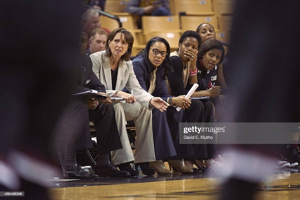 South Carolina coach Dawn Staley on bench during game vs Missouri at Mizzou Arena Columbia MO CREDIT David E Klutho