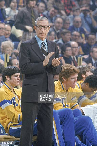 College Basketball UCLA coach John Wooden during game vs North Carolina State St Louis MO