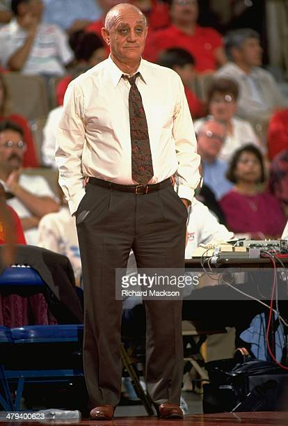 UNLV coach Jerry Tarkanian on sidelines during game vs Fresno State at Selland Arena Fresno CA CREDIT Richard Mackson