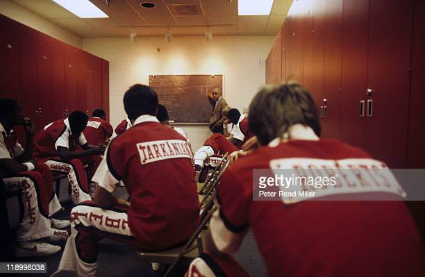 UNLV coach Jerry Tarkanian speaking with players in locker room before game vs Utah at Thomas Mack Center Las Vegas NV CREDIT Peter Read Miller
