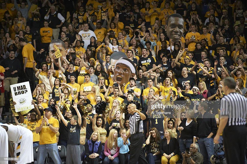 VCU fans in stands during game vs La Salle at Verizon Wireless Arena at Stuart C. Siegel Center. Al Tielemans F278 )