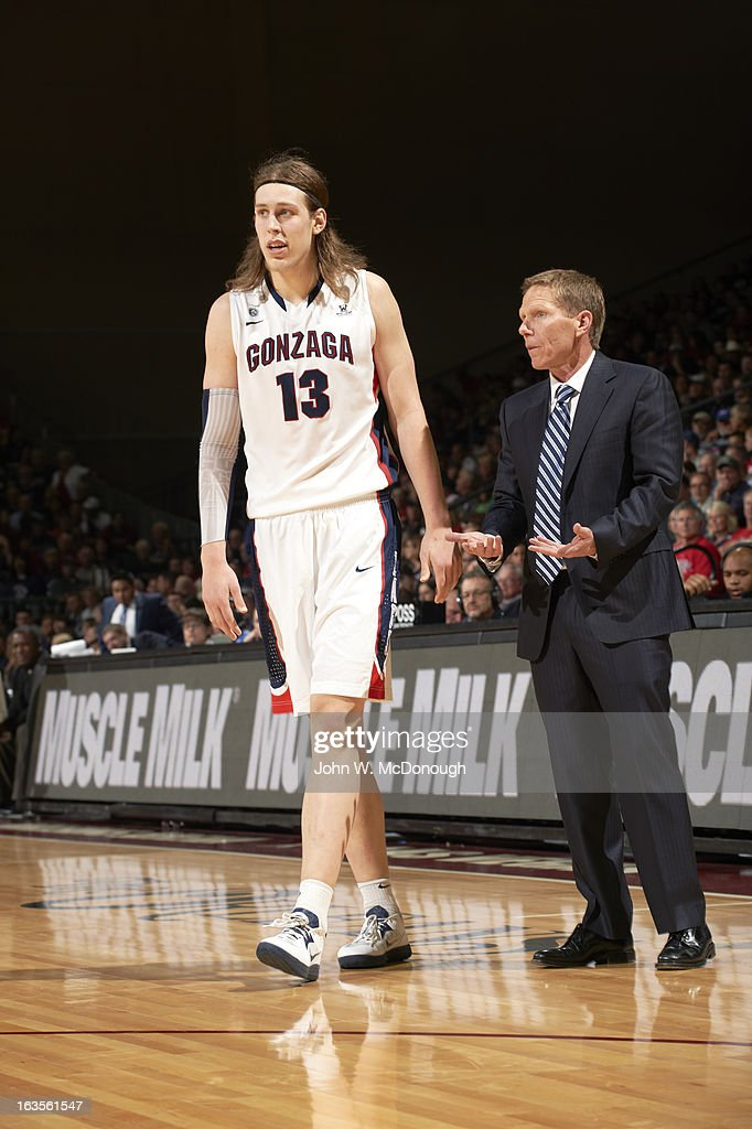 Gonzaga Kelly Olynyk (13) with coach Mark Few during game vs Loyola Marymount during Men's Semifinals at Orleans Arena. John W. McDonough F138 )