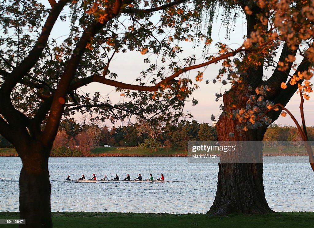 A college crew boat travels up the Potomac River in the early morning hours on April 24 2014 in Washington DC