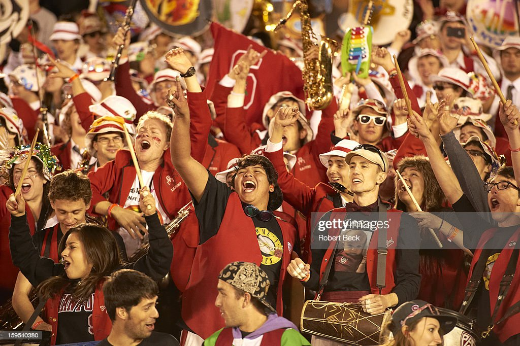 Stanford band in stands during game vs Wisconsin at Rose Bowl Stadium. Robert Beck F360 )
