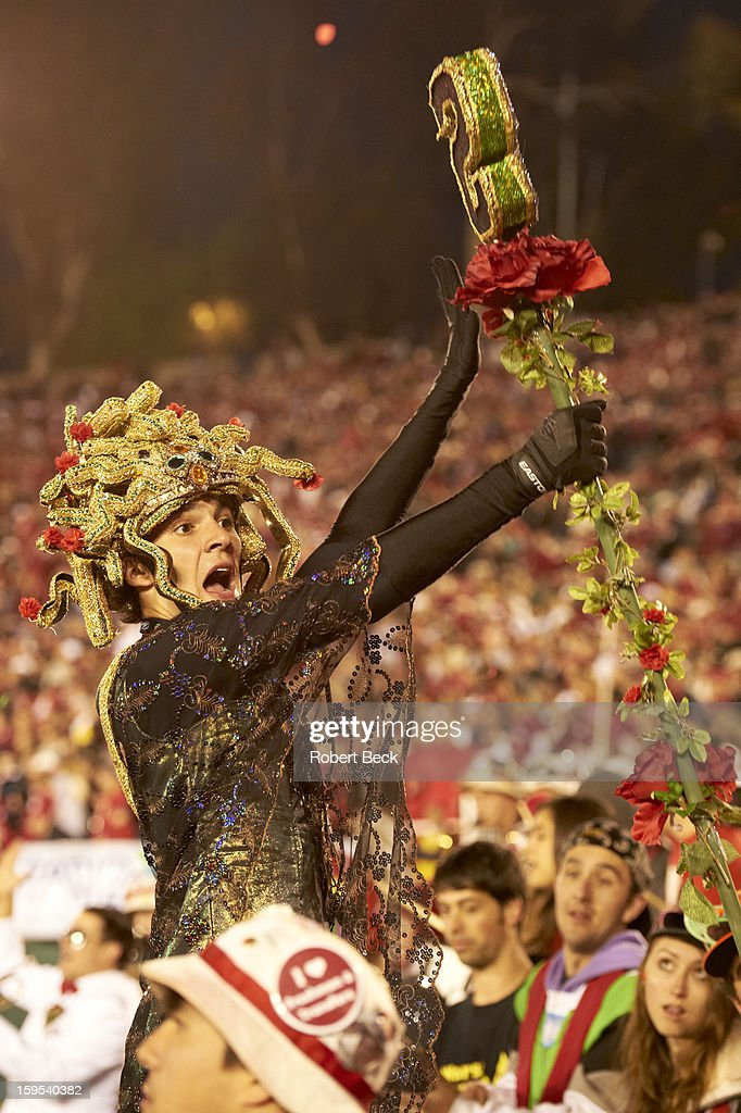 Stanford fan in stands during game vs Wisconsin at Rose Bowl Stadium. Goofy. Robert Beck F336 )