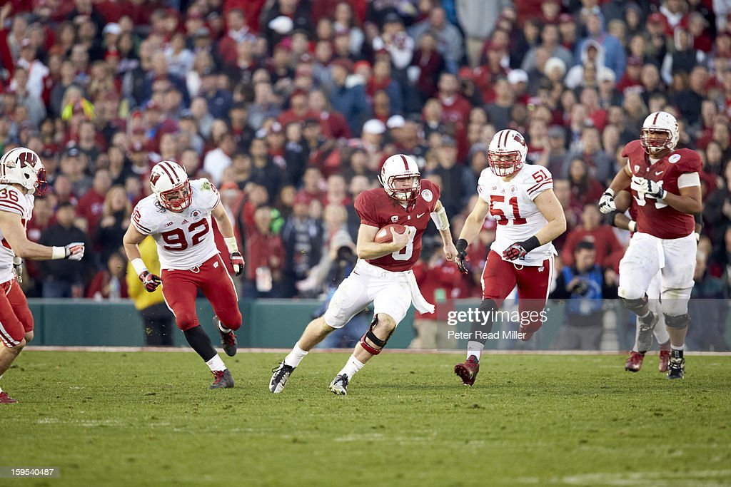 Stanford QB Kevin Hogan (8) in action vs Wisconsin at Rose Bowl. Peter Read Miller F312 )
