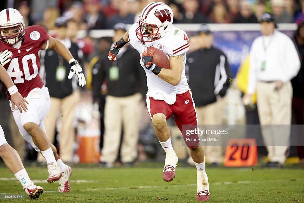 Wisconsin Jared Abbrederis (4) in action vs Stanford at Rose Bowl. Peter Read Miller F341 )