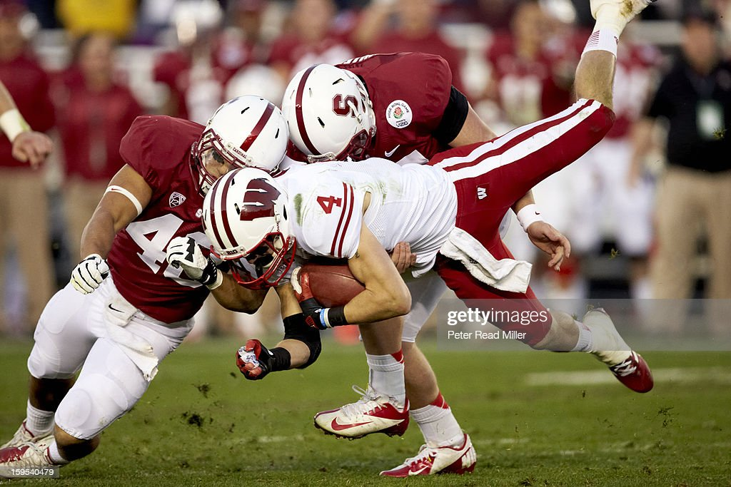 Wisconsin Jared Abbrederis (4) in action vs Stanford at Rose Bowl. Peter Read Miller F351 )