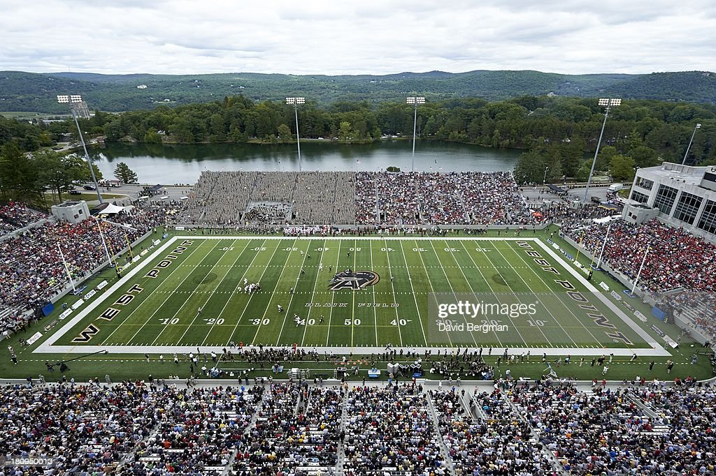 Aerial view of Michie Stadium during Army vs Stanford game West Point NY CREDIT David Bergman