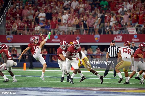 Alabama JK Scott in action punting vs USC at ATT Stadium Arlington TX CREDIT Greg Nelson
