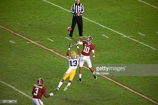 Alabama QB AJ McCarron in action vs LSU Ron Brooks at BryantDenny Stadium Tuscaloosa AL CREDIT Bill Frakes