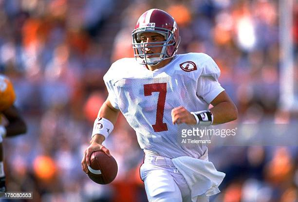 Alabama QB Jay Barker in action alone runs during game vs Tennessee at Neyland Stadium Knoxville TN CREDIT Al Tielemans