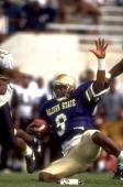Alcorn State QB Steve McNair in action quarterback slide vs Alabama State at Jack Spinks Stadium Lorman MS CREDIT Bill Frakes