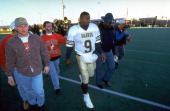 Alcorn State QB Steve McNair walking off field after game vs Youngstown State at Stambaugh Stadium Youngstown OH CREDIT David Liam Kyle