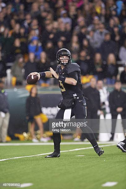 Baylor QB Jarrett Stidham in action passing vs Oklahoma at McLane Stadium Waco TX CREDIT Greg Nelson