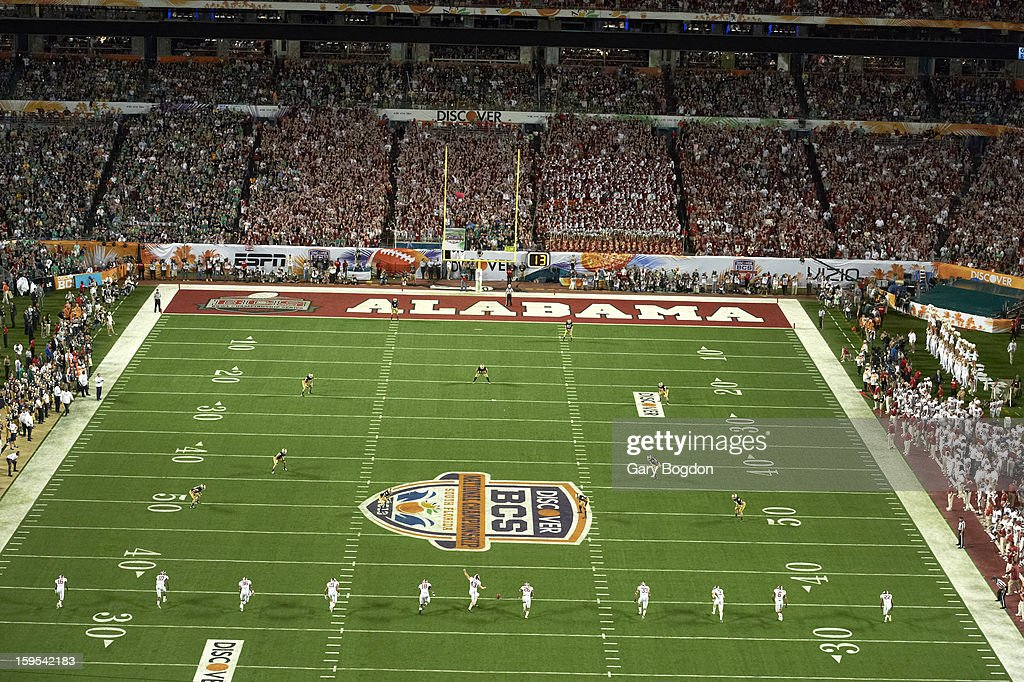 Aerial view of field during opening kickoff of Alabama vs Notre Dame game at Sun Life Stadium. Gary Bogdon F105 )