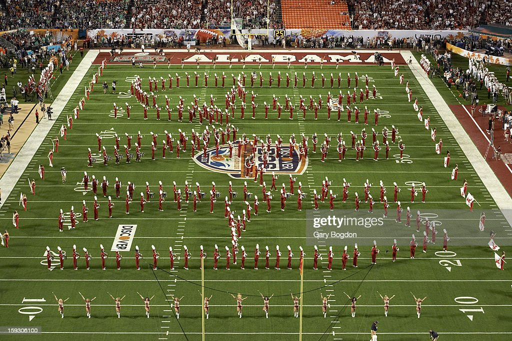 Alabama band and cheerleaders on field before game vs Notre Dame at Sun Life Stadium. Gary Bogdon F13 )