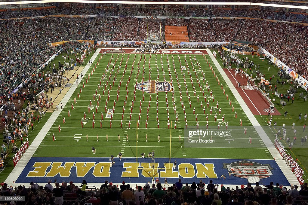 Alabama band on field before game vs Notre Dame at Sun Life Stadium. Gary Bogdon F24 )