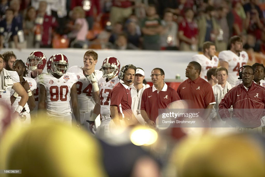 Alabama coach Nick Saban on sidelines during game vs Notre Dame at Sun Life Stadium. Damian Strohmeyer F73 )
