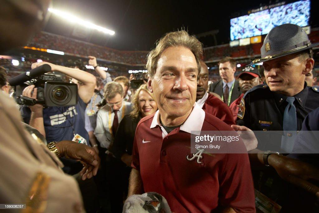 Alabama coach Nick Saban after winning game vs Notre Dame at Sun Life Stadium. Simon Bruty F59 )