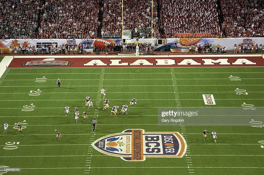 Alabama Cody Mandell (29) in action, punting vs Notre Dame at Sun Life Stadium. Gary Bogdon F29 )