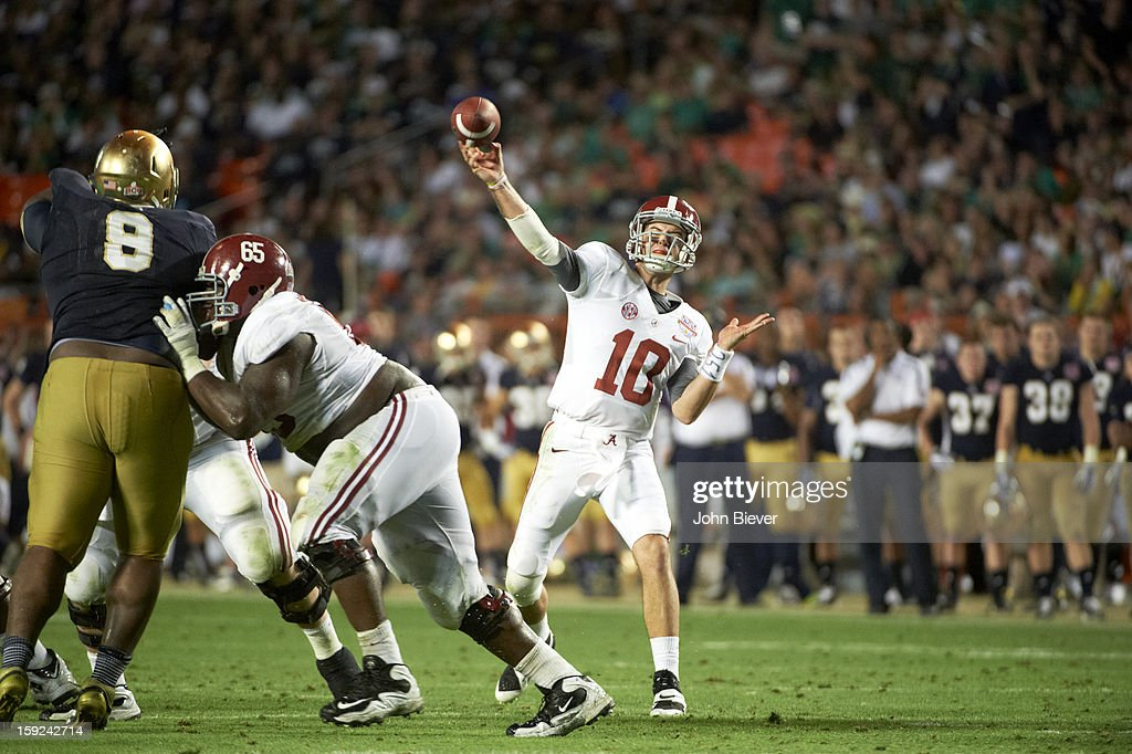 Alabama QB AJ McCarron (10) in action, passing vs Notre Dame at Sun Life Stadium. John Biever F2 )