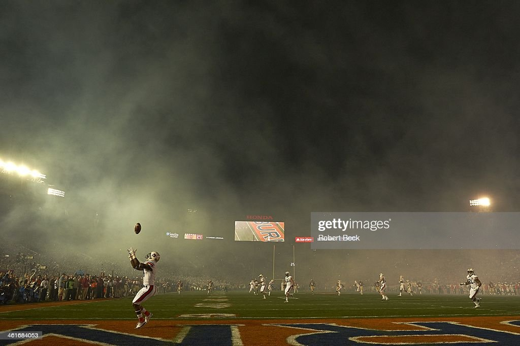 BCS National Championship Auburn Quan Bray in action receiving punt in endzone vs Florida State at Rose Bowl Stadium Pasadena CA CREDIT Robert Beck