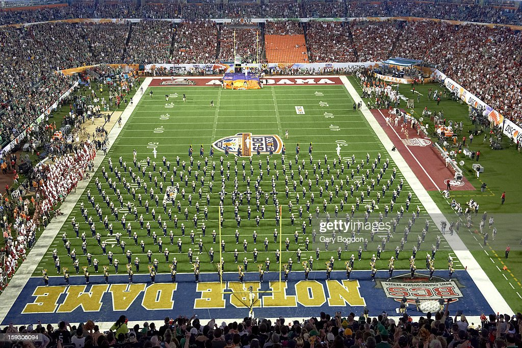Notre Dame band on field before game vs Alabama at Sun Life Stadium. Gary Bogdon F44 )