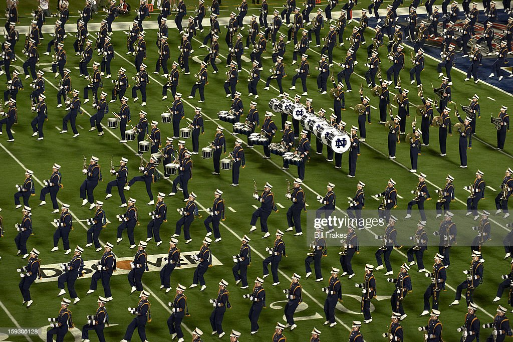 Notre Dame band on field before game vs Alabama at Sun Life Stadium. Bill Frakes F11 )
