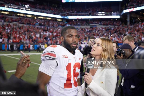 Big 10 Championship Ohio State QB JT Barrett during interview with Fox Sports sideline reporter Jenny Taft after game vs Wisconsin at Lucas Oil...
