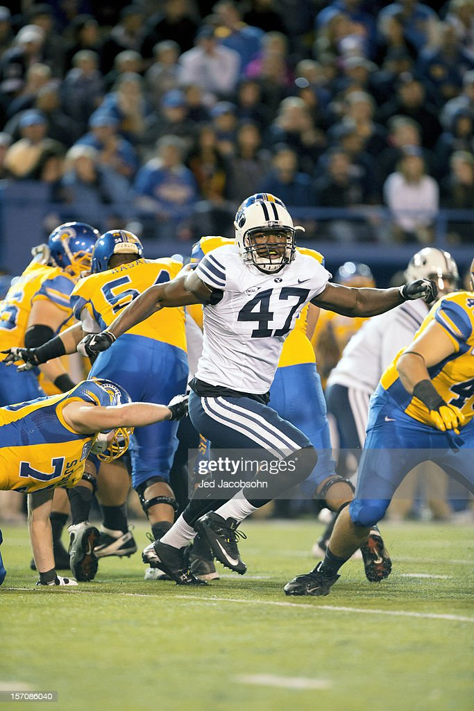 BYU Ezekiel Ansah (47) in action, defense vs San Jose State at Spartan Stadium. Jed Jacobsohn F482 )