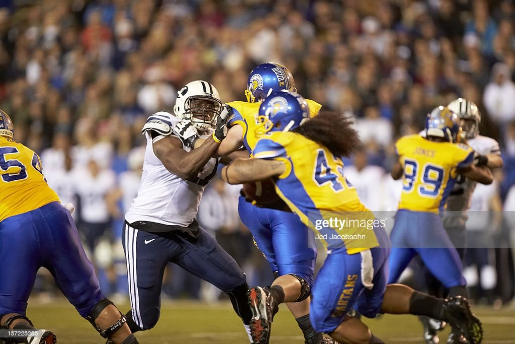 BYU Ezekiel Ansah (47) in action vs San Jose State at Spartan Stadium. Jed Jacobsohn F590 )