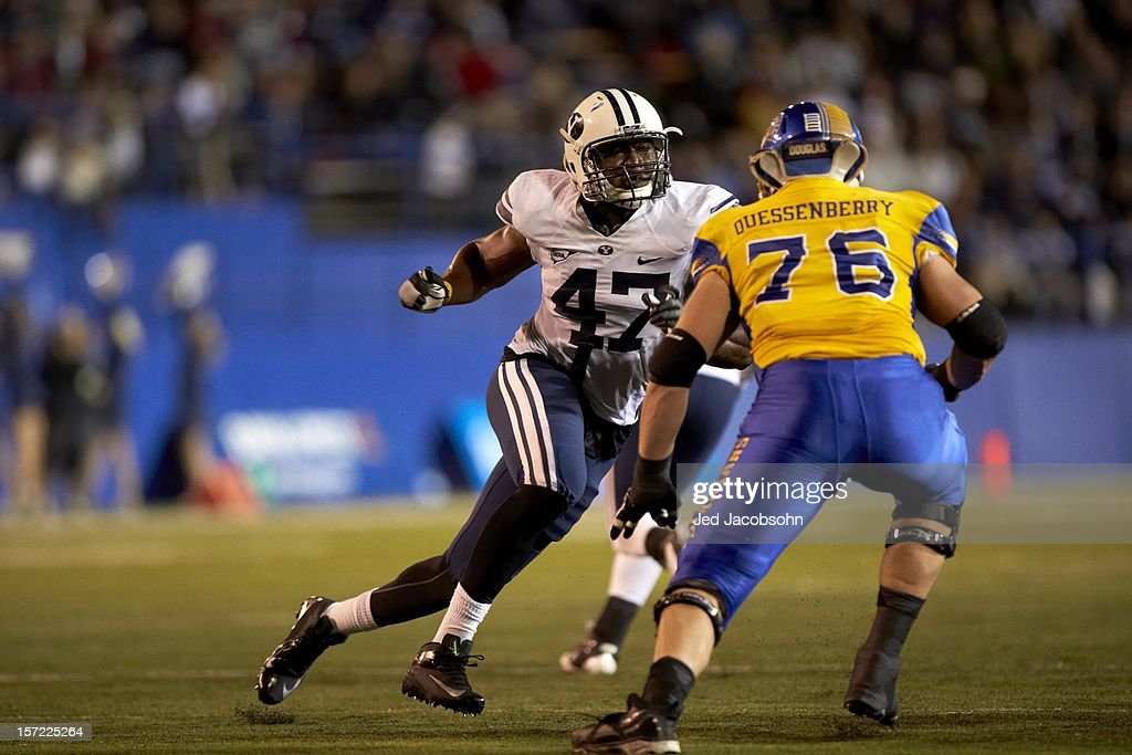 BYU Ezekiel Ansah (47) in action vs San Jose State at Spartan Stadium. Jed Jacobsohn F740 )