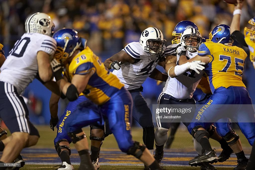 BYU Ezekiel Ansah (47) in action vs San Jose State at Spartan Stadium. Jed Jacobsohn F990 )