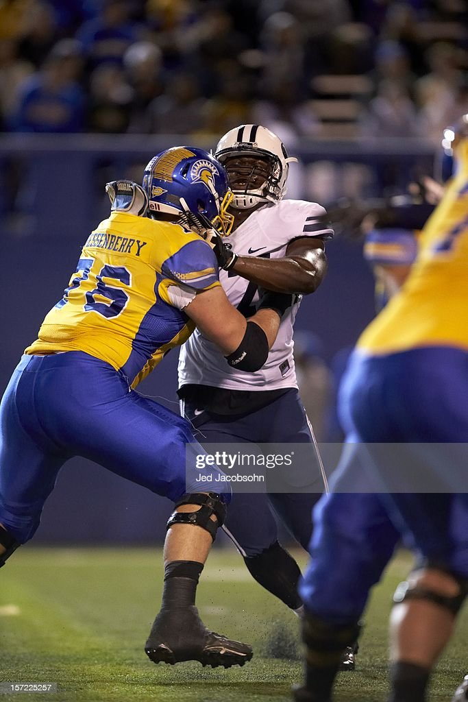BYU Ezekiel Ansah (47) in action vs San Jose State David Quessenberry (76) at Spartan Stadium. Jed Jacobsohn F568 )