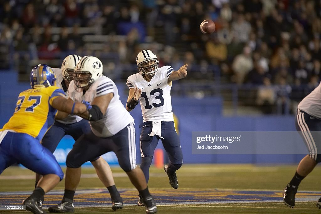BYU Riley Nelson (13) in action, passing vs San Jose State at Spartan Stadium. Jed Jacobsohn F885 )