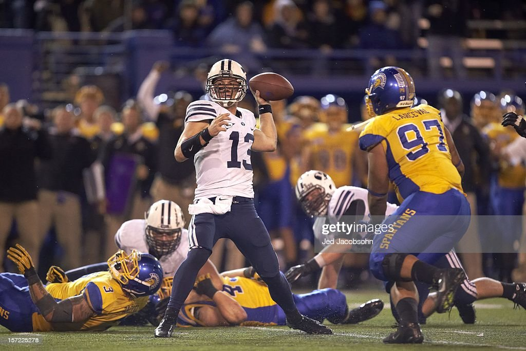BYU Riley Nelson (13) in action, passing vs San Jose State at Spartan Stadium. Jed Jacobsohn F1159 )