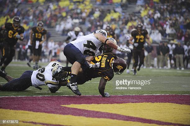 Central Michigan Antonio Brown in action scoring touchdown vs Akron Mike Thomas and Tyler Campbell Mount Pleasant MI 9/26/2009 CREDIT Andrew Hancock