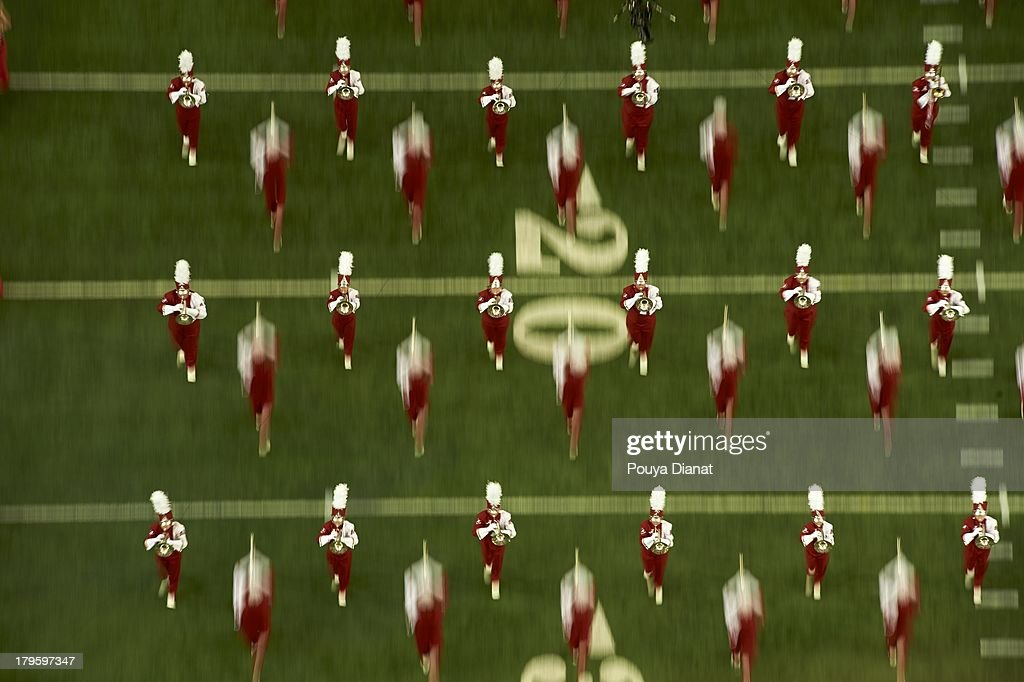 Aerial view of Alabama band on field during game vs Virginia Tech at Georgia Dome. Pouya Dianat F131 )