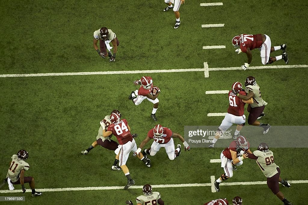 Aerial view of Alabama Dee Hart (1) in action, rushing vs Virginia Tech at Georgia Dome. Pouya Dianat F80 )