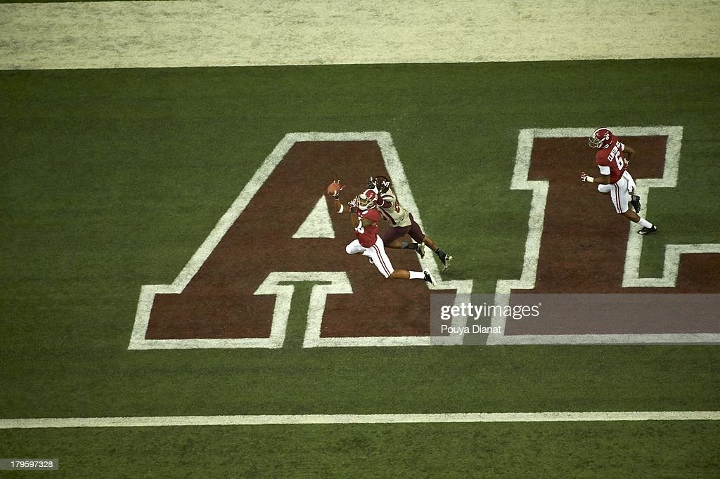 Aerial view of Alabama ArDarius Stewart (13) in action vs Virginia Tech at Georgia Dome. Pouya Dianat F72 )