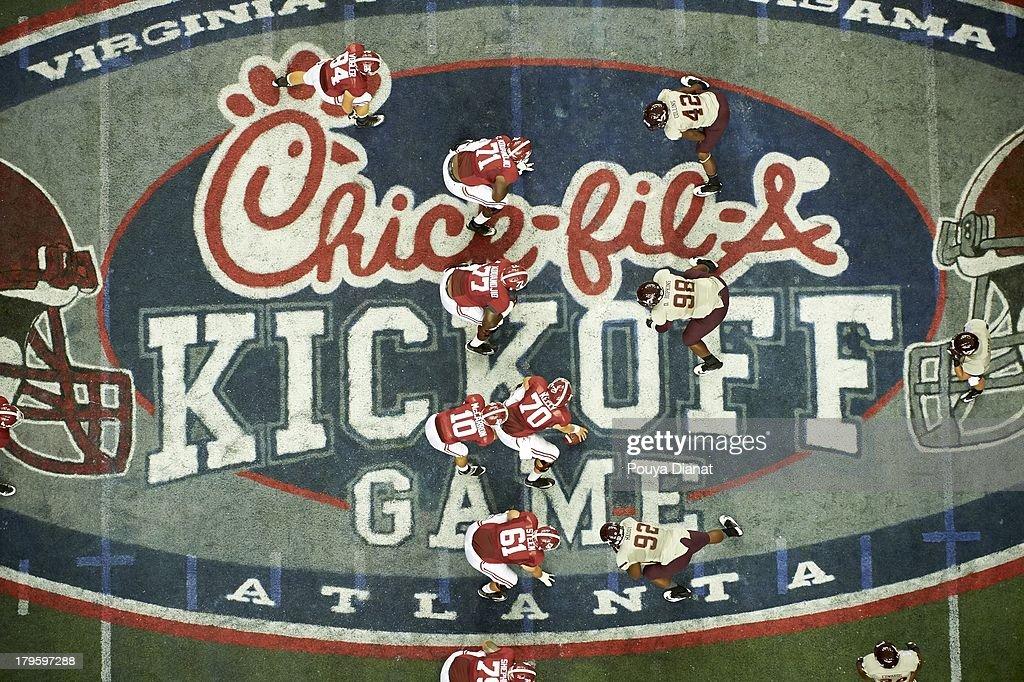 Aerial view of Alabama QB AJ McCarron (10) calling signals vs Virginia Tech at Georgia Dome. Pouya Dianat F3 )