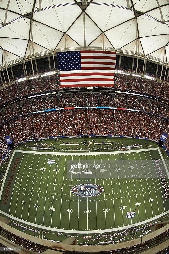 Aerial view of Georgia Dome during Alabama vs Virginia Tech Georgia Dome. Pouya Dianat F3 )