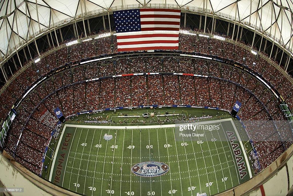 Aerial view of Georgia Dome during Alabama vs Virginia Tech Georgia Dome. Pouya Dianat F5 )